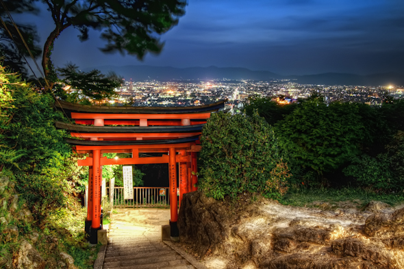 It's a Shinto shrine and a city skyline in the night. Not bad, eh?